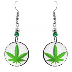 Handmade small round-shaped cannabis pot leaf graphic acrylic dangle earrings with beaded metal hooks in white and lime green.
