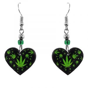 Handmade small heart-shaped cannabis pot leaf graphic acrylic dangle earrings with beaded metal hooks in black and lime green color combination.