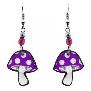Amanita magic mushroom acrylic dangle earrings with beaded metal hooks in purple and white color combination.