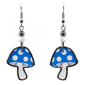 Amanita magic mushroom acrylic dangle earrings with beaded metal hooks in turquoise blue and white color combination.