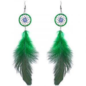Handmade round beaded thread dream catcher earrings with daisy flower design and long natural dyed feather dangle in green, light blue turquoise, and light lilac color combination.