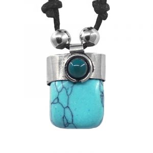 Handmade tumbled gemstone crystal pendant with silver metal and mini round teal bead on adjustable necklace in turquoise blue howlite.