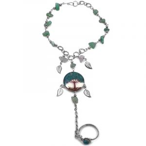 Handmade alpaca silver metal chain harem bracelet with round-shaped clear acrylic resin, copper wire, and crushed chip stone inlay tree of life centerpiece and metal leaf charm dangles, linked to an adjustable ring in teal green chrysocolla color.