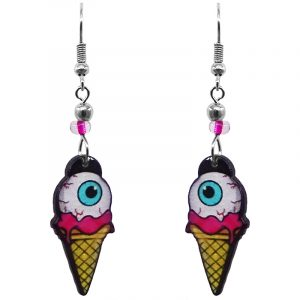 Eyeball on ice cream cone acrylic dangle earrings with beaded metal hooks in white, hot pink, yellow, turquoise blue, and black color combination.