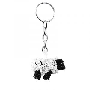 Handmade Czech glass seed bead figurine keychain of a sheep in white and black color combination.