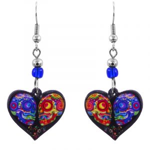 Handmade heart-shaped Day of the Dead sugar skull couple acrylic dangle earrings with beaded metal hooks in black and multicolored color combination.