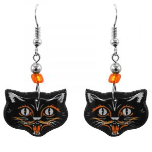 Handmade black cat face acrylic dangle earrings with beaded metal hooks in black, white, and orange color combination.