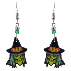 Handmade Halloween themed witch face acrylic dangle earrings with beaded metal hooks in lime green, orange, golden yellow, blue, black, and white color combination.