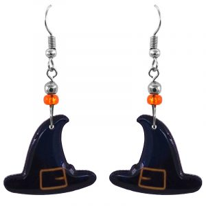 Handmade Halloween themed witch hat graphic acrylic dangle earrings with beaded metal hooks in black, dark navy blue, and golden yellow color combination.