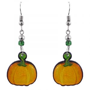 Handmade pumpkin fruit acrylic dangle earrings with beaded metal hooks in orange, yellow, and green color combination.