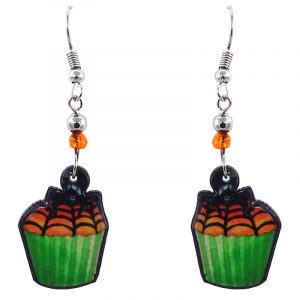 Handmade Halloween themed spider cupcake acrylic dangle earrings with beaded metal hooks in neon green, orange, and black color combination.