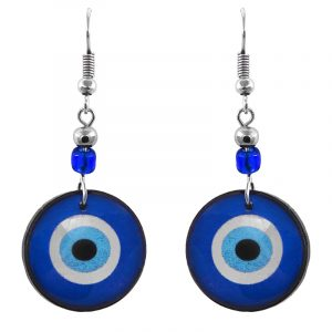 Handmade round-shaped evil eye nazar acrylic dangle earrings with beaded metal hooks in blue, white, light blue, and black color combination.
