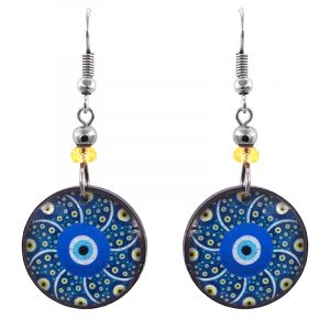 Handmade round-shaped psychedelic geometric evil eye acrylic dangle earrings with beaded metal hooks in blue, turquoise, yellow, white, and black color combination.