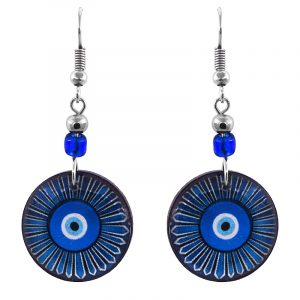 Handmade round-shaped daisy flower evil eye acrylic dangle earrings with beaded metal hooks in blue, light blue, white, and black color combination.