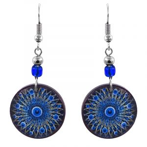 Handmade round-shaped psychedelic mandala evil eye acrylic dangle earrings with beaded metal hooks in blue, black, white, and light yellow color combination.