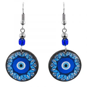 Handmade round-shaped flower petal mandala evil eye acrylic dangle earrings with beaded metal hooks in blue, turquoise, white, and black color combination.