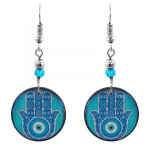 Handmade round-shaped hamsa hand evil eye nazar acrylic dangle earrings with beaded metal hooks in turquoise, blue, light blue, white, and black color combination.