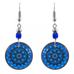 Handmade round-shaped floral mandala evil eye acrylic dangle earrings with beaded metal hooks in turquoise, blue, yellow, white, and black color combination.