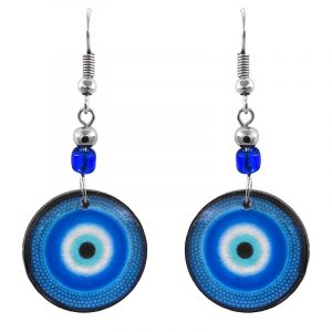 Handmade round-shaped gradient pattern evil eye acrylic dangle earrings with beaded metal hooks in blue, turquoise, white, and black color combination.