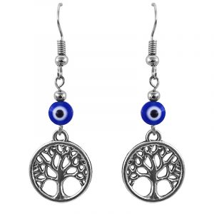 Handmade silver metal tree of life charm dangle earrings with evil eye bead in blue, white, and black color combination.